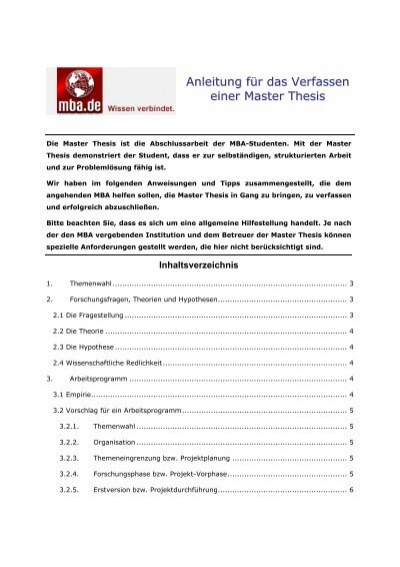 master thesis mba download