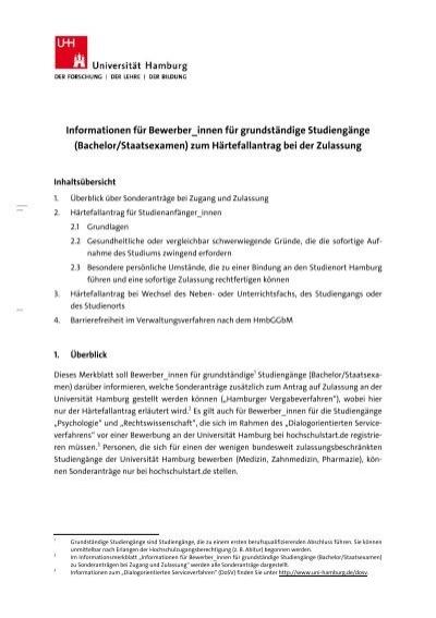Merkblatt h rtefallantrag pdf universit t hamburg for Uni hamburg studiengange