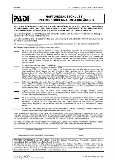 Haftungsausschluss Und Risikoübernahme Erklärung Swiss Divers