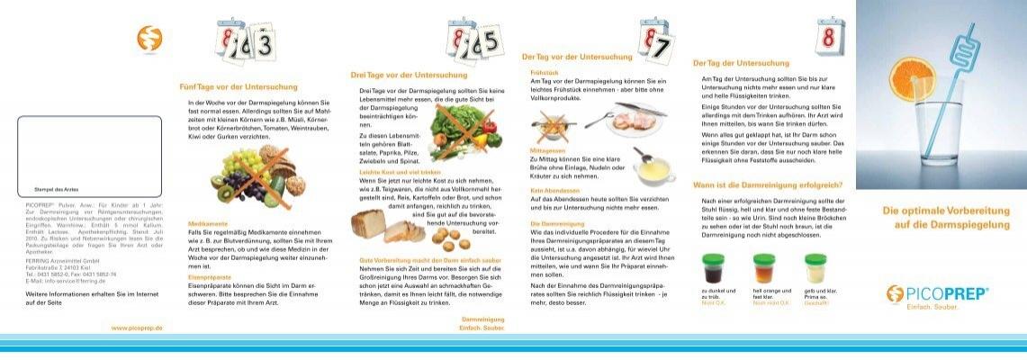 Darmspiegelung der essen vor Speiseplan vor