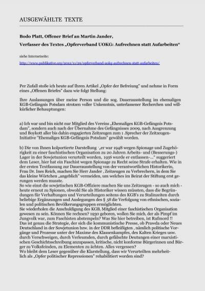 Bodo Platt Offener Brief An Martin Jander Gedenkbibliothek