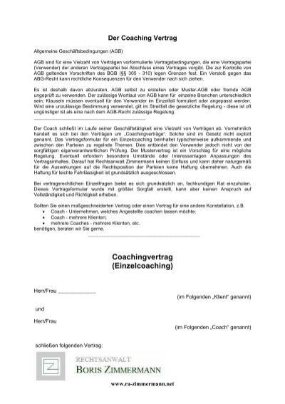 coaching vertrag muster. coaching konzept. vom kontakt zum kontrakt ...