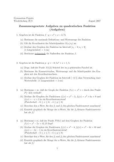 Zusammengesetzte Aufgaben zu quadratischen Funktion (Aufgaben)