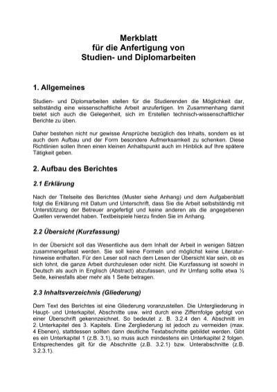 Merkblatt Fã¼r Die Anfertigung Von Studien Und Diplomarbeiten Iag