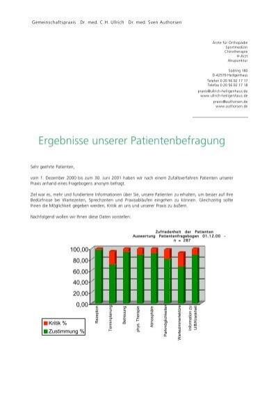 Ergebnisse unserer Patientenbefragung - Gemeinschaftspraxis Dr ...