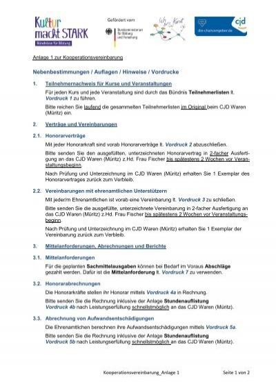Nebenbestimmungen Auflagen Hinweise Vordrucke Cjd