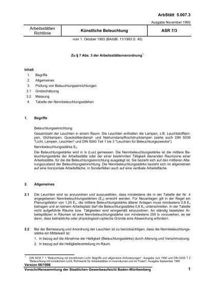 Arbeitsstätten Richtlinie - Künstliche Beleuchtung - ASR 7/3