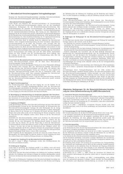 Bedingungen Fur Das MercedesCard Versicherungspaket