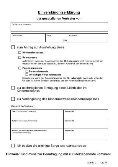 Einverständniserklärung Kinderreisepass : einverst ndniserkl rung der gesetzlichen vertreter ~ Themetempest.com Abrechnung