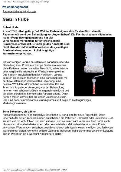 Zm online praxismanagement raumgestaltung mit konzept for Raumgestaltung deutsch
