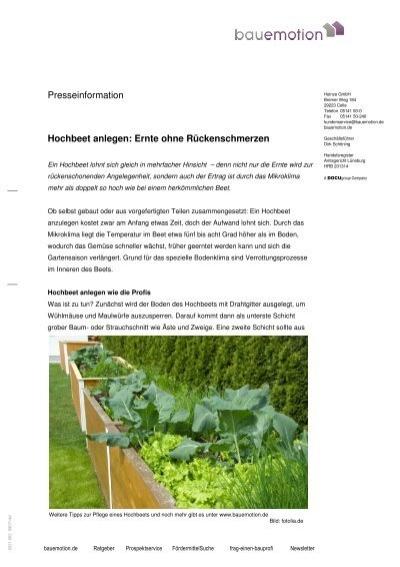 Presseinformation Hochbeet Anlegen Ernte Ohne Heinze Gmbh