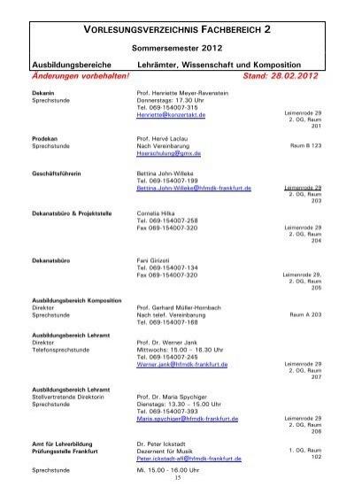 Vorlesungsverzeichnis Frankfurt