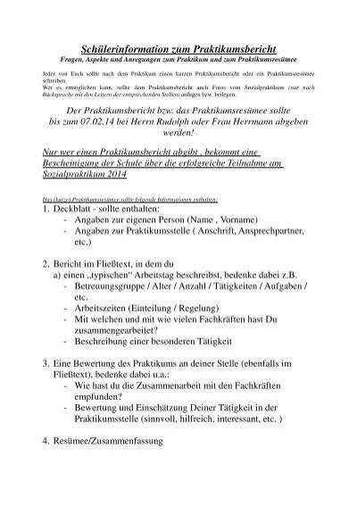 Richtlinien Zur Gestaltung Der Praktikumsberichte Gymnasium Und