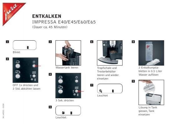 entkalken impressa e40 e45 e60 e65 esperanza. Black Bedroom Furniture Sets. Home Design Ideas