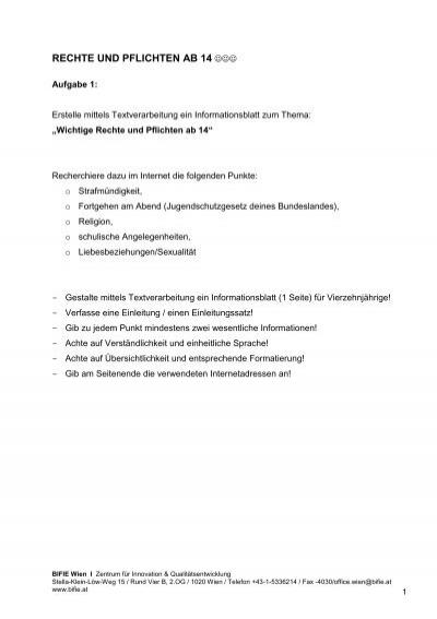 Rechte Ab 14 : rechte und pflichten ab 14 bifie ~ Orissabook.com Haus und Dekorationen