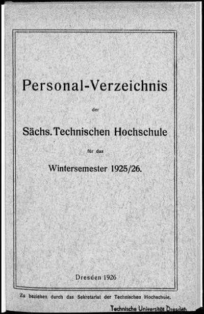 Personalverzeichnis Wintersemester 1925 26