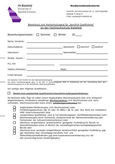 beruflich qualifizierte fachhochschule bielefeld - Fh Bielefeld Bewerbung