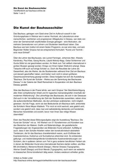 Die Kunst Der Bauhausschüler Bauhaus Onlinede