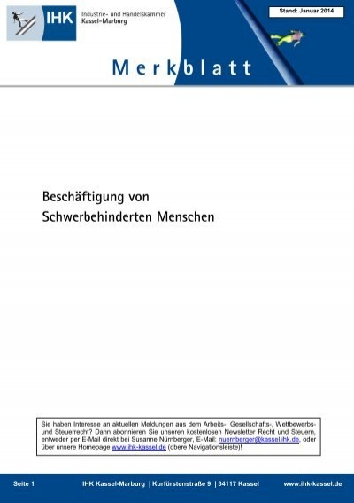 Beschäftigung Von Schwerbehinderten Ihk Kassel