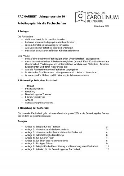 Facharbeit Alexander S Puschkin Gymnasium Hennigsdorf
