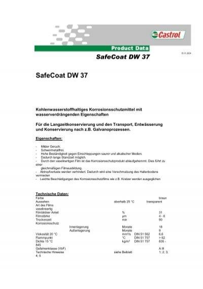 castrol safecoat dw 37 2004 01 pdf korb schmierstoffe. Black Bedroom Furniture Sets. Home Design Ideas