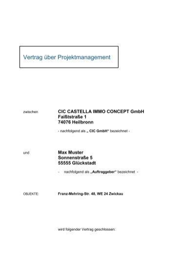 Vertrag Uber Projektmanagement Cic Castella Immo Concept Gmbh