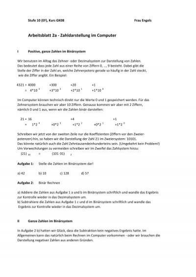 Arbeitsblatt 2a - Zahldarstellung im Computer - ZAIK
