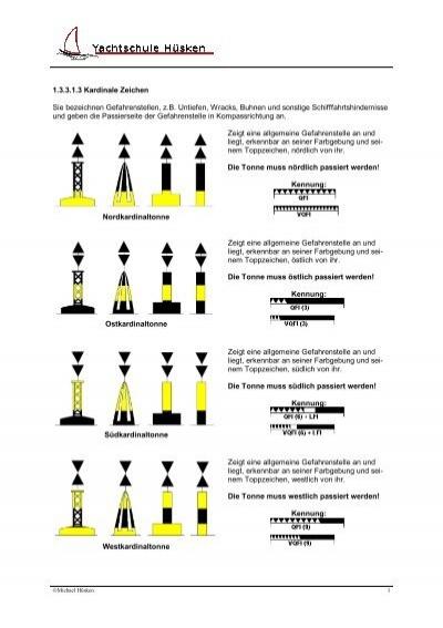 Kardinaltonnen und Sonderzeichen - Yachtschule Hüsken