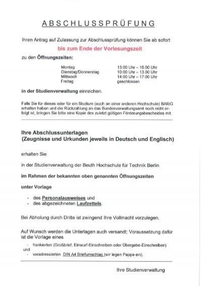 Abschlussprüfung Beuth Hochschule Für Technik Berlin