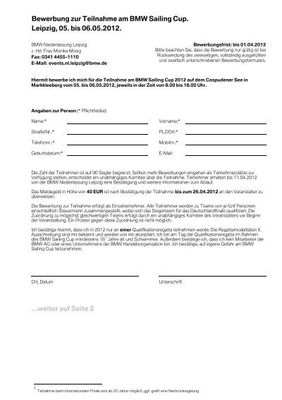bewerbung zur teilnahme am bmw sailing cup leipzig 05 bis - Bmw Bewerbung