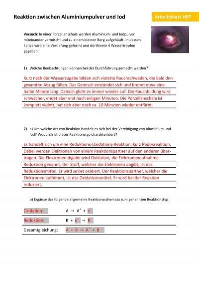 Schön Arten Von Reaktionen Zum Arbeitsblatt Galerie - Arbeitsblatt ...