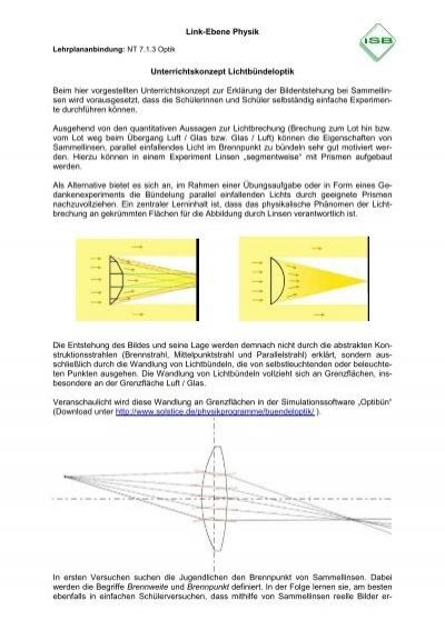 Link-Ebene Physik Unterrichtskonzept Lichtbündeloptik Beim hier ...