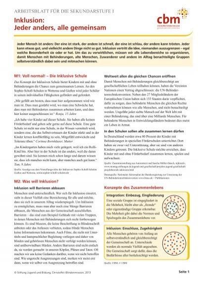 Arbeitsblatt für die Sekundarstufe Eins Inklusion - Jugend und Bildung