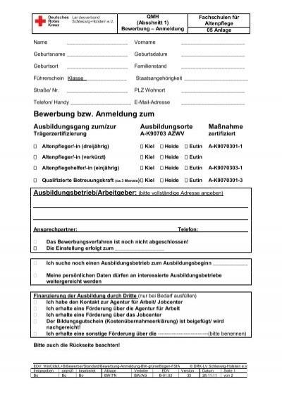bewerbung bzw anmeldung zum - Bewerbung Als Betreuungskraft