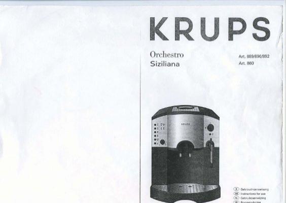 Krups siziliana f860 bedienungsanleitung pdf