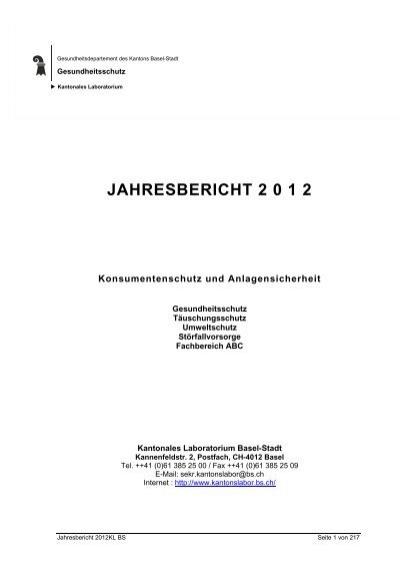 Jahresbericht 2012 Basel Stadt