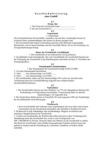 Gesellschaftsvertrag Einer Kommanditgesellschaft Kg