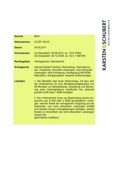 Bgh Vii Zr 13410 Ersparte Aufwendungen Kündigung Werkvertrag