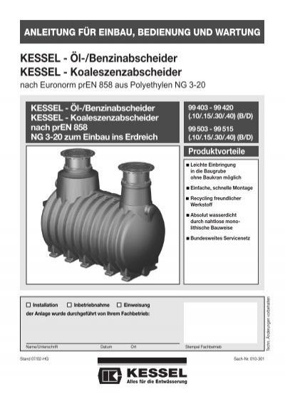 KESSEL - Öl-/Benzinabscheider KESSEL - Koaleszenzabscheider