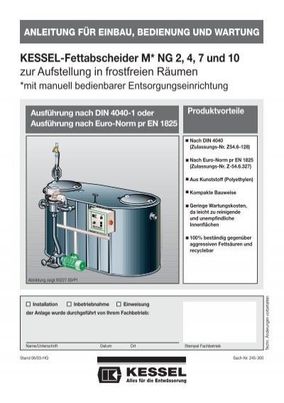 KESSEL-Fettabscheider M* NG 2, 4, 7 und 10 zur Aufstellung in ...