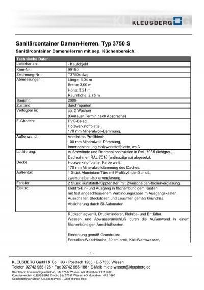 Sanitärcontainer Damen-Herren, Typ 3750 S - Kleusberg GmbH ...