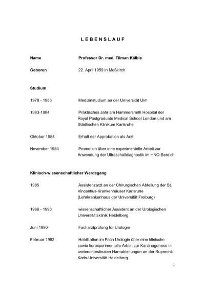 Lebenslauf Prof. Dr. Kälble - Klinikum Fulda