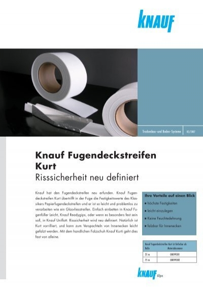 knauf fugendeckstreifen kurt risssicherheit neu definiert. Black Bedroom Furniture Sets. Home Design Ideas