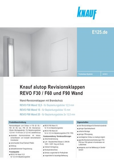 knauf alutop revisionsklappen revo f30 f60 und f90 wand. Black Bedroom Furniture Sets. Home Design Ideas