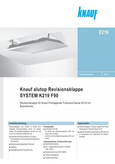 knauf alutop revisionsklappe system k219 f90 e219. Black Bedroom Furniture Sets. Home Design Ideas