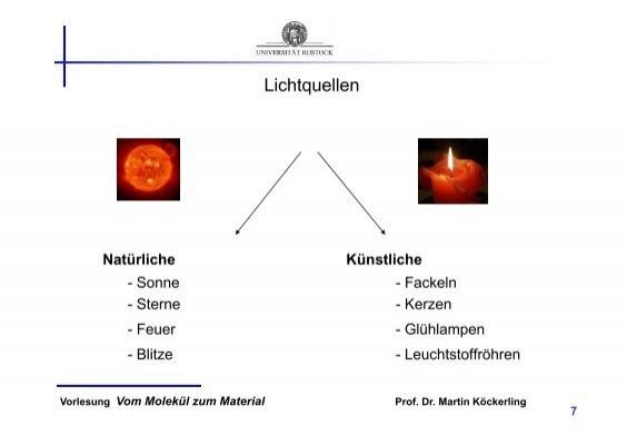Natürliche Lichtquellen physikalische aspekte •