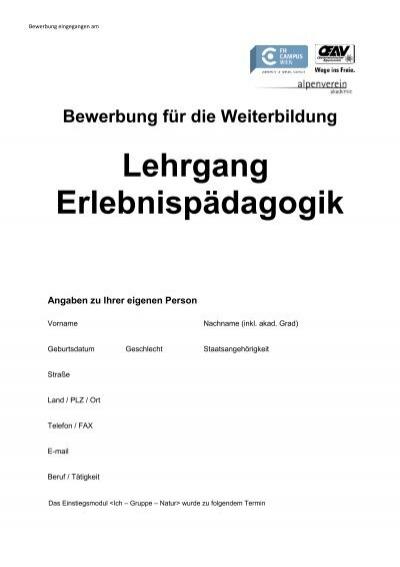 bewerbung fr die weiterbildung lehrgang alpenverein akademie - Bewerbung Weiterbildung