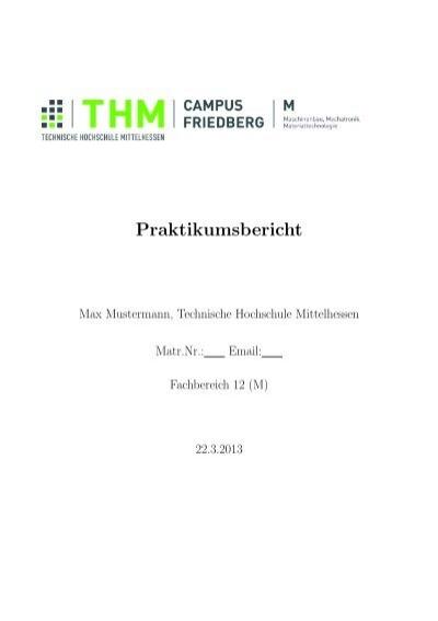 Vorlage Fur Bps Berichte Technische Hochschule Mittelhessen