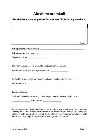 Vorlage f r ein abnahmeprotokoll mit checkliste pdf - Vorlage fa r hirsch ...