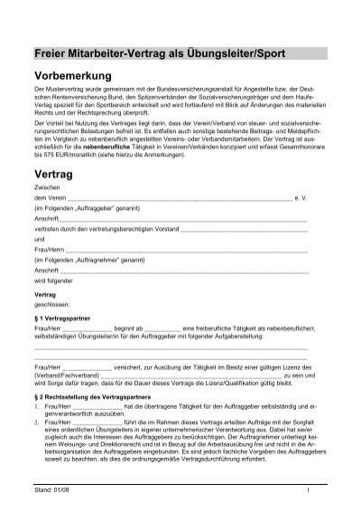 Freier Mitarbeiter-Vertrag als Übungsleiter/Sport Vorbemerkung ...